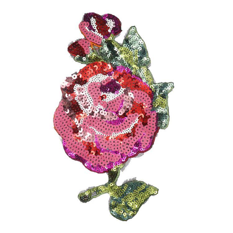 奥希舞台服装辅料亮片布贴手工缝制珠片玫瑰花刺绣补丁电商货源