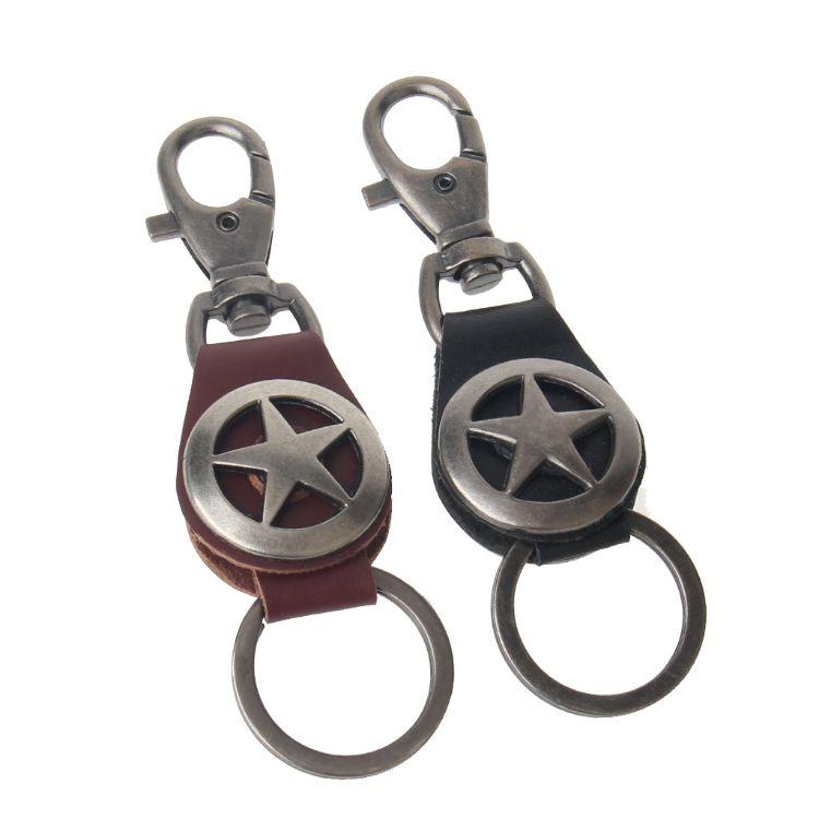 时尚潮流工艺礼品 男士创意合金五角星牛皮简约短款钥匙挂饰批发