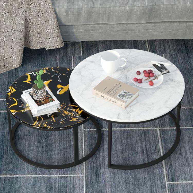 北欧茶几大理石茶几现代简约客厅家用创意组合小户型圆形铁艺茶几