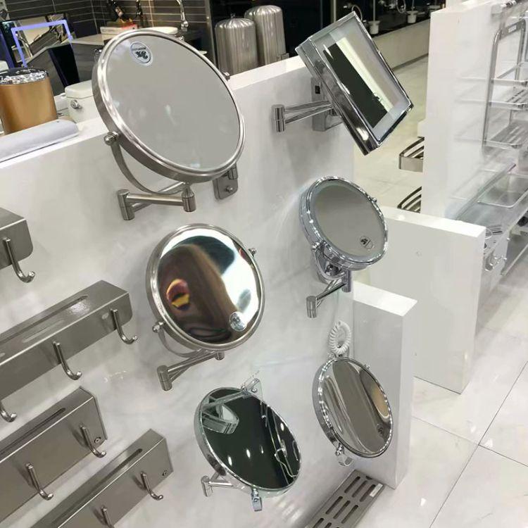 简约现代卫浴镜 3倍放大镜 LED补光化妆镜 美容梳妆带灯镜 高清防雾卫浴镜