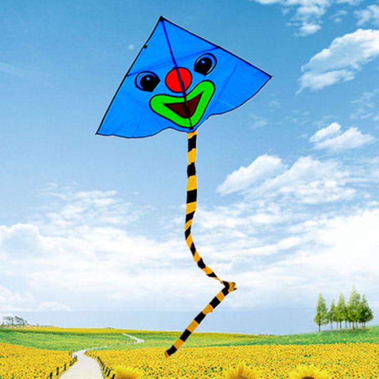 批发供应新款小丑笑脸风筝 长尾儿童卡通风筝 易飞 儿童风筝玩具