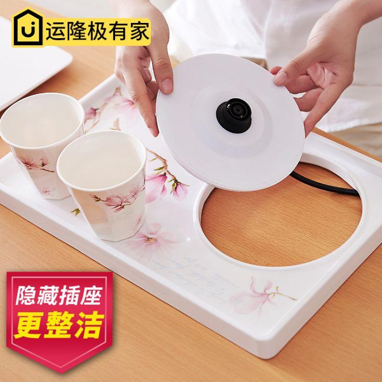 新运隆欧式烧水壶托盘家用长方形密胺托盘水壶托盘茶盘隔热垫加厚