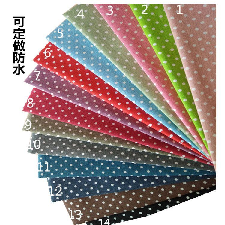 厂家直销 麻布印花满底白点桌布抱枕收纳袋工艺品用布可做防水