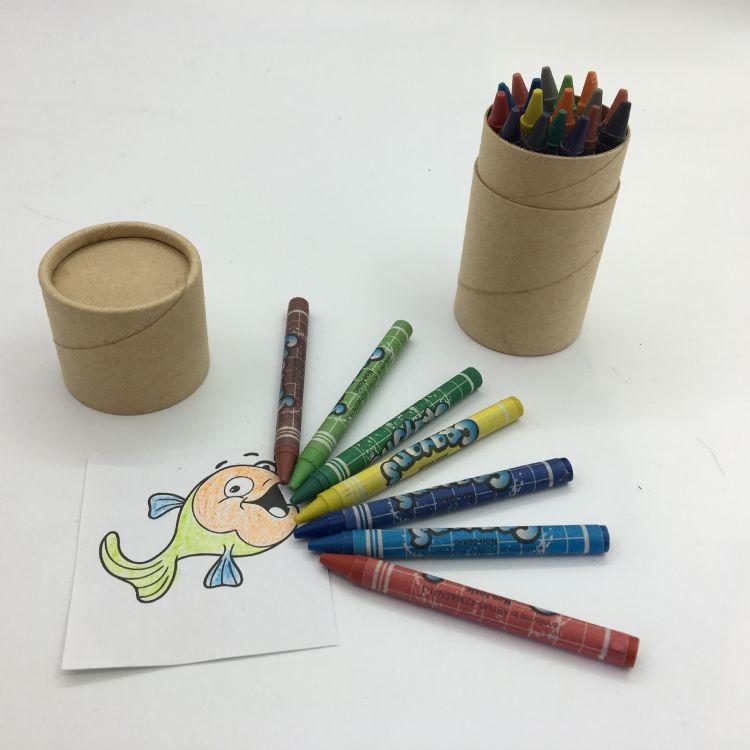 订做定制纸筒纸罐包装24色3.5英寸蜡笔卡通包纸儿童绘涂色油画棒