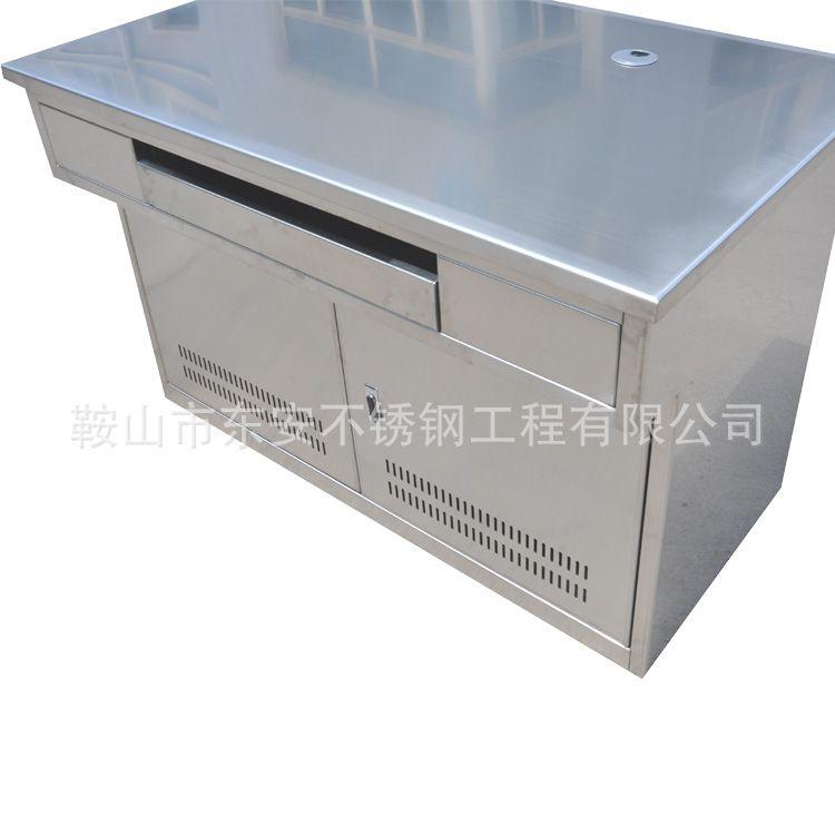 东安定制SWT-512不锈钢操作调度台带抽屉中控室直形监控工作台