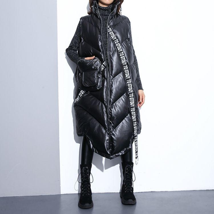 欧美大码女装无袖外套2018冬装新款字母织带亮面马甲宽松棉衣服潮
