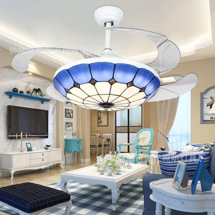 LED风扇灯 地中海隐形风扇 吊扇灯餐厅卧室灯饰 全铜电机质保十年