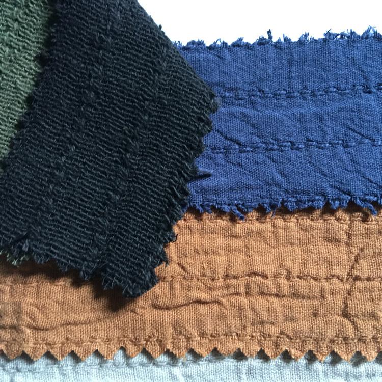 棉洗水双层皱布 秋冬男女装童装面料 文艺条纹提花机理布料 盘扣