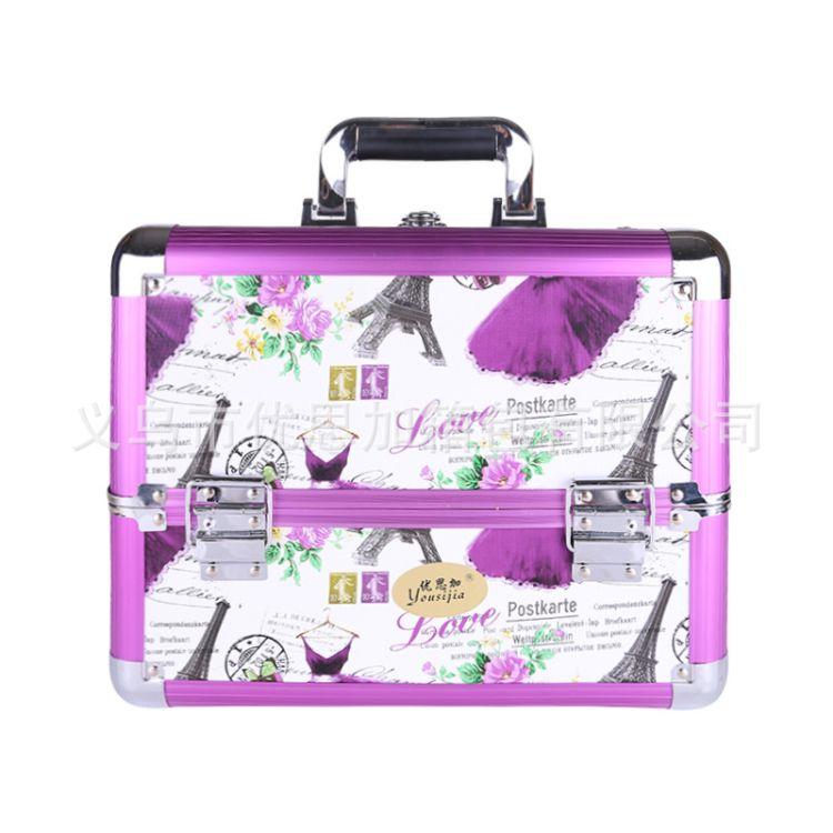 多花色双开定制大容量铝合金化妆箱防水美容美甲纹绣工具箱收纳箱