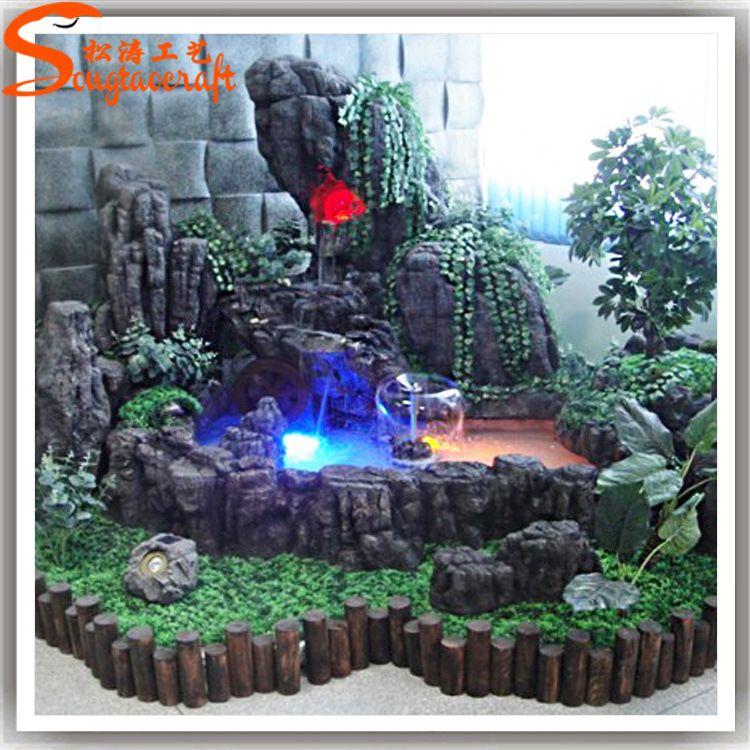 仿真假山流水挂件摆设生产厂家人造室内假山景观设计喷泉定制批发