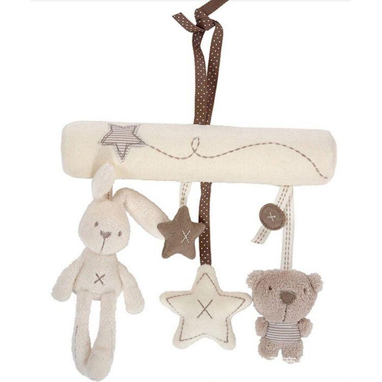 挂件床绕 兔子婴儿音乐床挂件 安全座椅挂件婴儿毛绒玩具一件代发