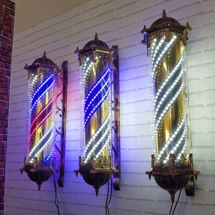 复古高档理发店美发转灯发廊灯户外挂墙LED彩光PVC塑料防水