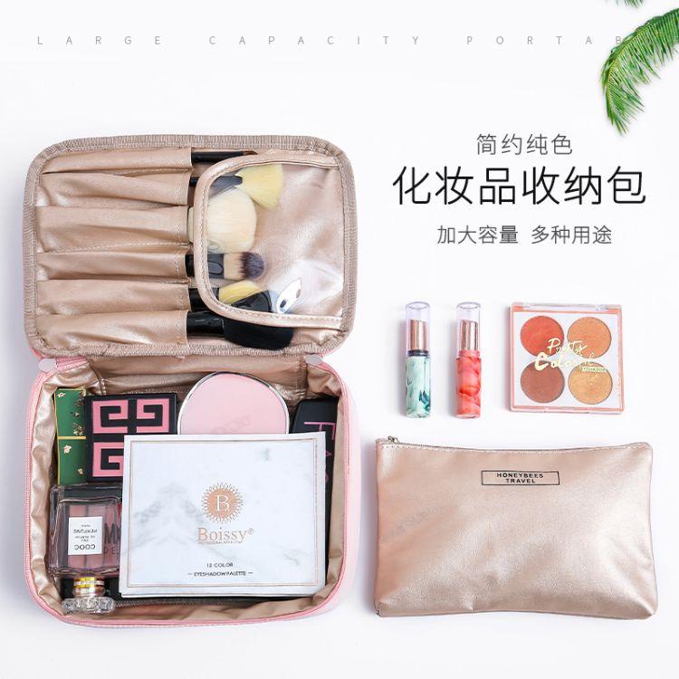 厂家定制欧式化妆包 北欧风旅行洗漱包男女便携收纳袋收纳包 防水大容量化妆包子母套装