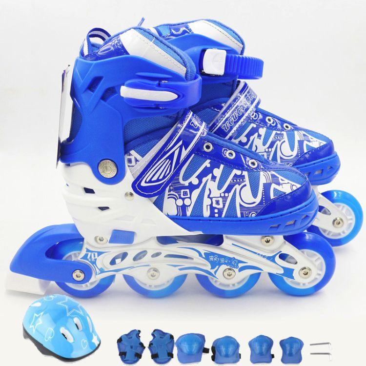 批发闪光溜冰鞋儿童全套装男女直排轮旱冰轮滑鞋可调3-4-5-6-10岁