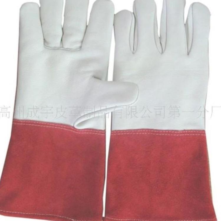 长期批发 厂家直销 14寸红色牛二层手颈拼接本白色牛头层电焊手套