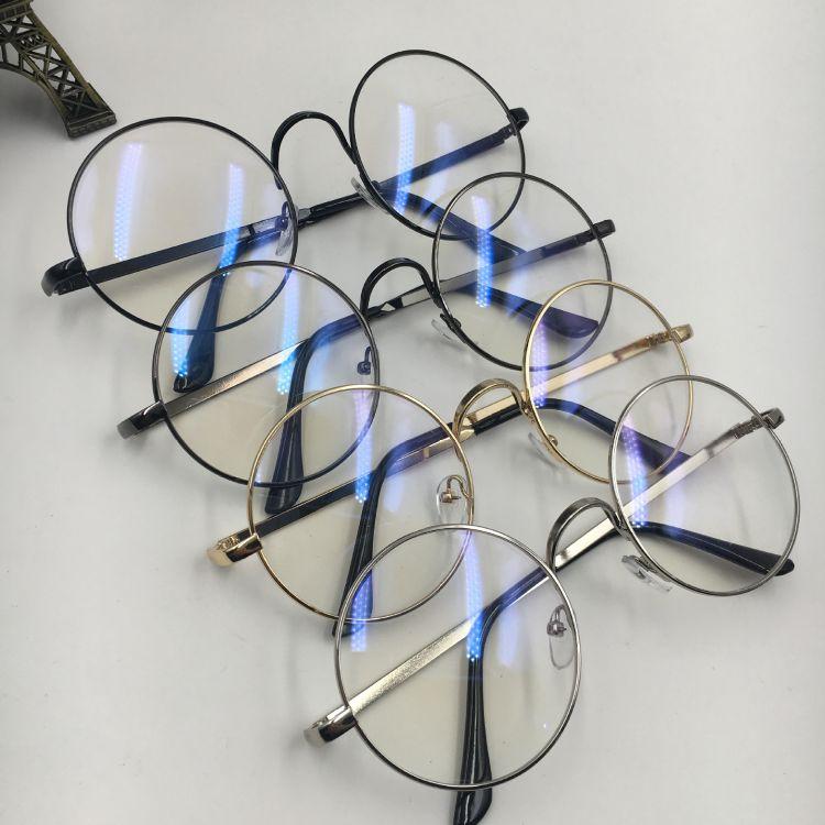韩版复古文艺超轻金属圆框平光镜男女款百搭学生眼镜架清新护目镜