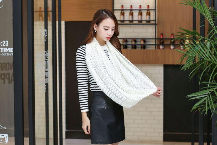 韩版时尚纯色针织围脖   冬季新款加厚保暖毛线围脖套头围巾