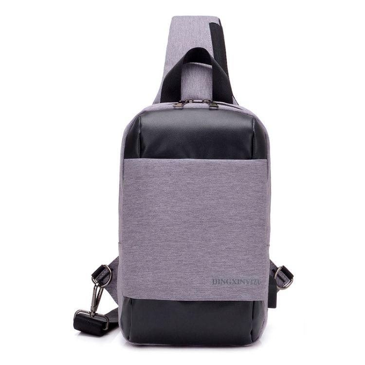 创意男士胸包休闲背包户外多功能斜挎包时尚潮流胸包男USB充电包