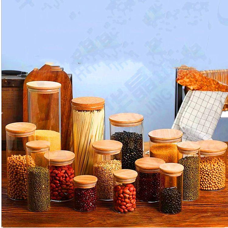 高硼硅密封罐圆形透明竹盖玻璃瓶厨房食品杂粮储物罐玻璃罐子批发