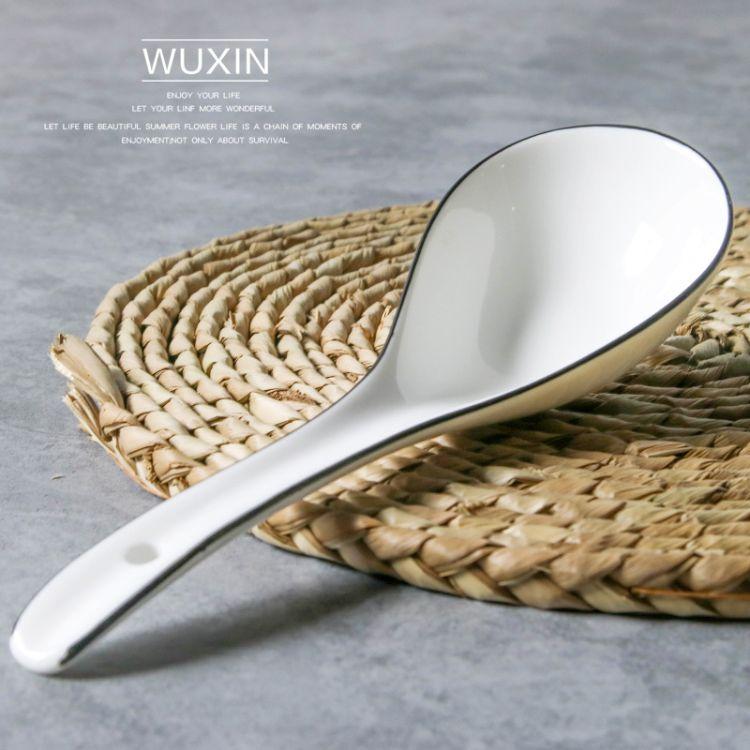 厂家供应白色陶瓷汤勺 调羹  饭勺 酒店餐厅家用专用瓷勺