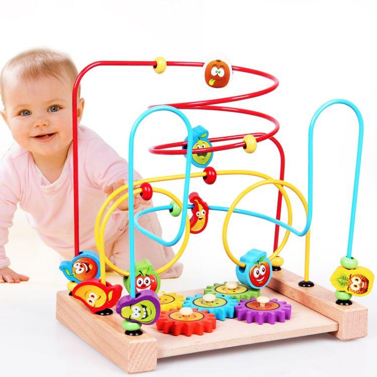 厂家直销木制卡通水果榉木绕珠教具 婴幼儿早教智力开发绕珠串珠