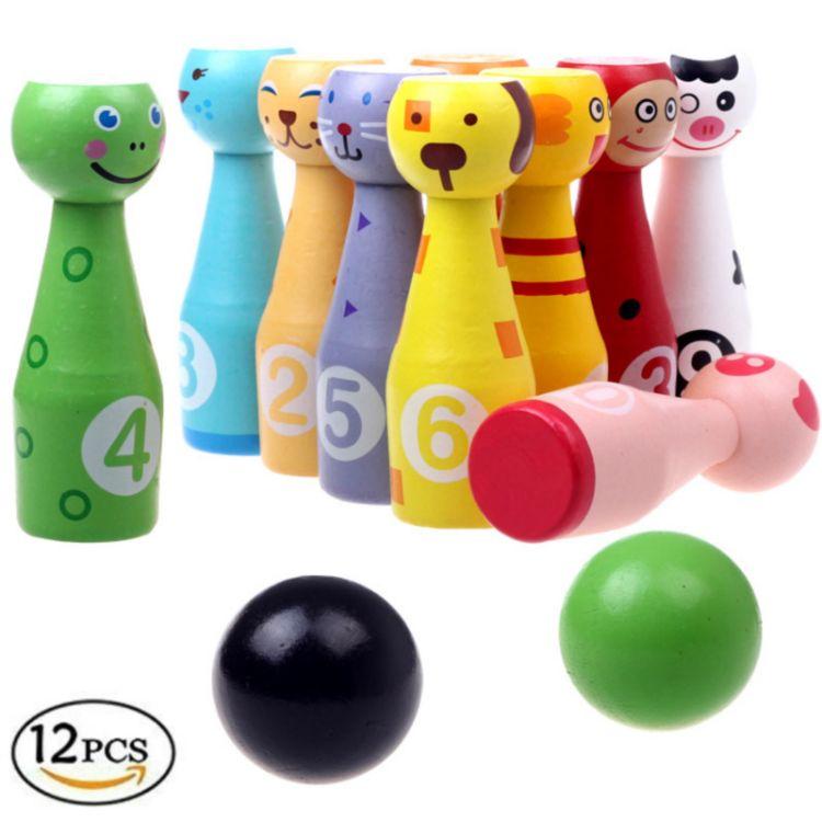 儿童益智教育保龄球 学前教育玩具 亲子玩具 木制卡通动物保龄球
