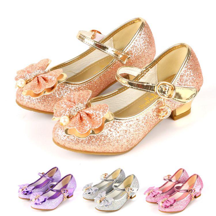 童鞋批发女童高跟公主皮鞋舞蹈表演休闲单鞋新品广州童鞋一件代发