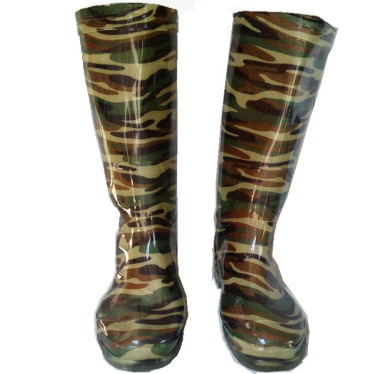 【厂家直销】耐磨防滑牛筋底迷彩绑高筒雨鞋抗断耐酸碱耐油雨靴