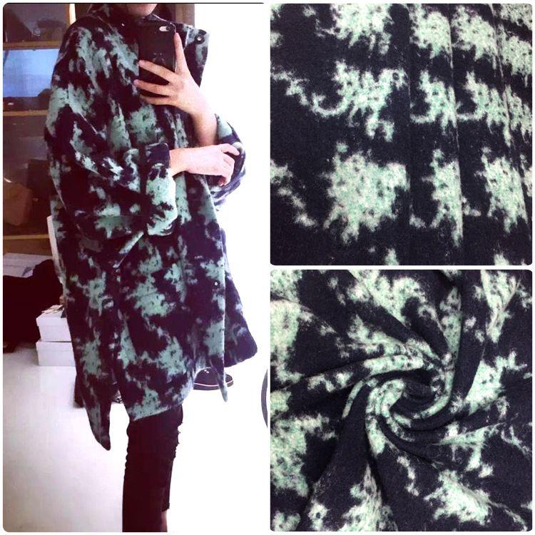 厂家直销高品质时尚外套女装针织毛呢面料 现货磨毛千鸟提花