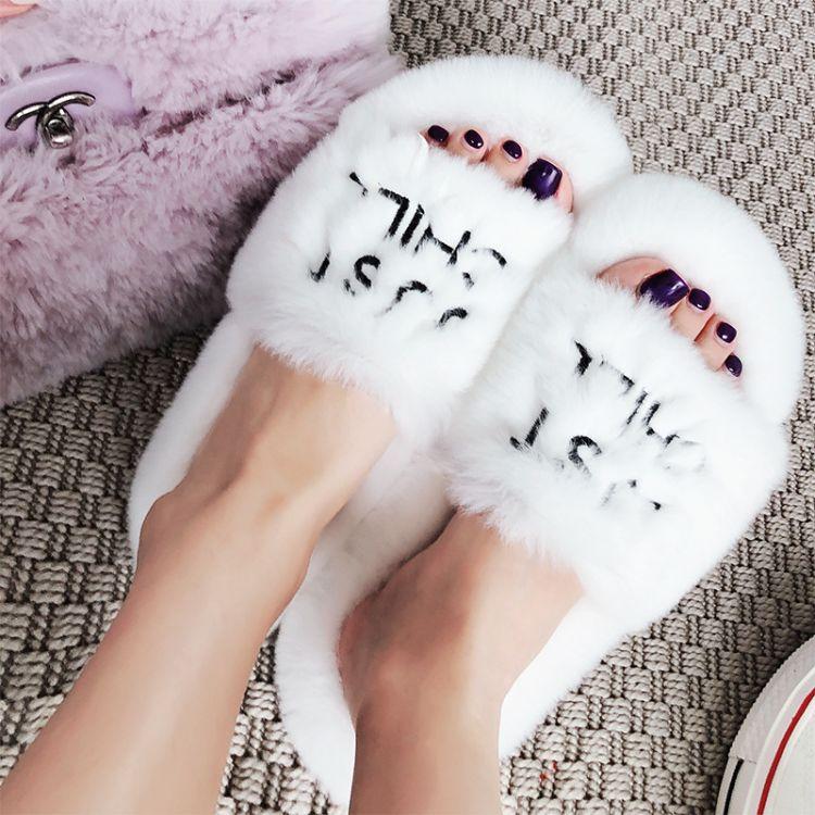 Lin EditionLimit 秋季新款时尚厚底兔毛雪花白毛毛拖鞋外穿獭兔