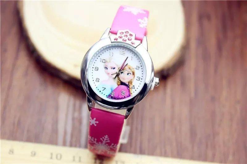 新款热卖冰雪奇缘艾莎安娜公主儿童手表 卡通镶钻女孩手表