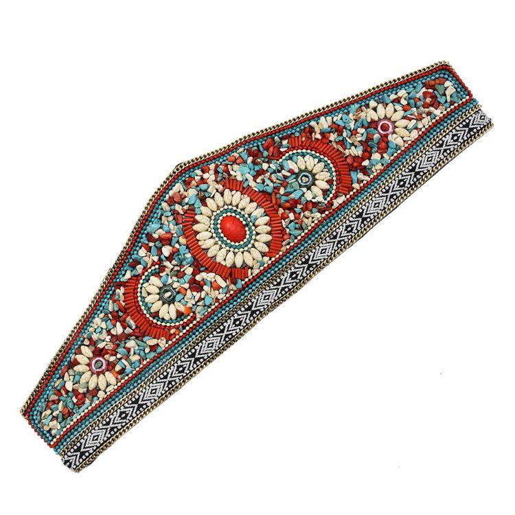 新款欧美时尚复古腰封 波西米亚民族风镶刻松石雕花少数民族百搭