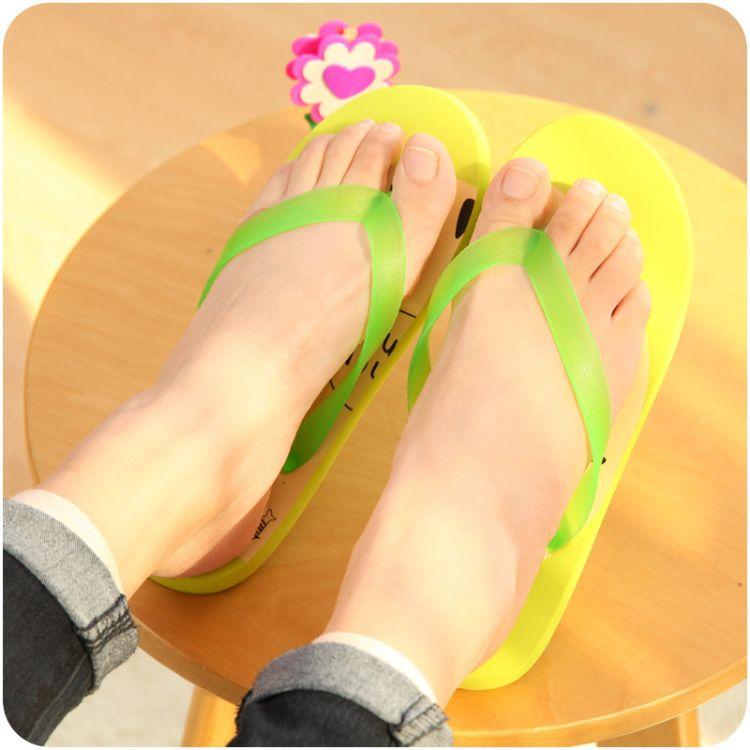 韩版夏日卡通水果人字拖可爱女学生居家休闲平底凉拖鞋沙滩拖鞋潮