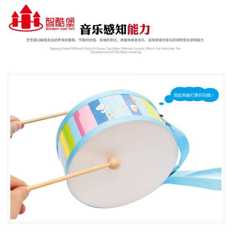 批发军鼓儿童打击乐器木制双面敲鼓益智手敲击打教具儿童音乐玩具