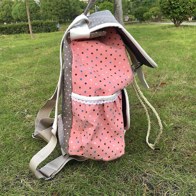 胜明 可爱韩版帆布双肩背包 学院风书包 厂家定制学生背包