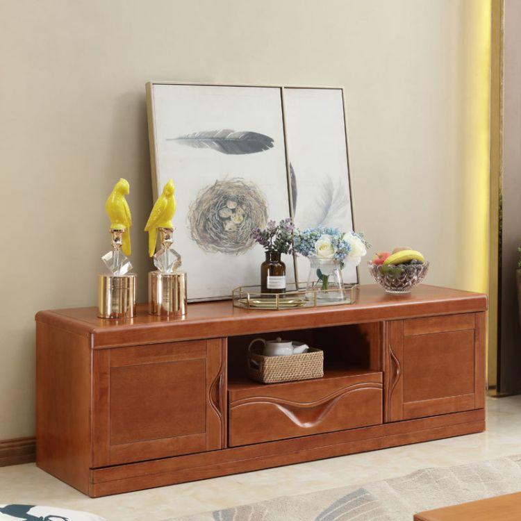新中式实木组合电视柜大小客厅家具经济适用小户型高箱储物影视柜