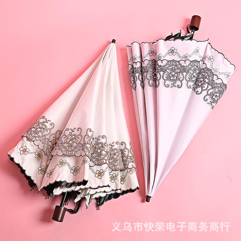 新品出口东南亚太阳伞防晒防紫外线黑胶超强蕾丝刺绣公主洋女伞