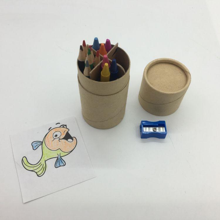 定制幼儿美术用品彩铅蜡笔卷笔刀组合套装纸筒装彩色铅笔油画棒