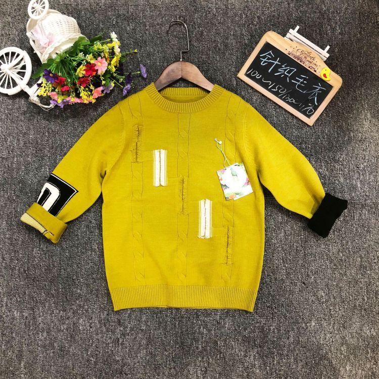DG家男女儿童毛衣18新款毛衣圆领百搭针织衫品牌折扣童装批发分份