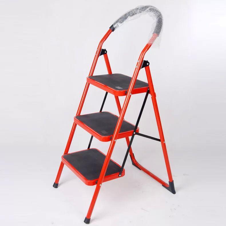 大红板家用移动梯 折叠铁梯 四步加厚圆管人字梯子 外贸热销