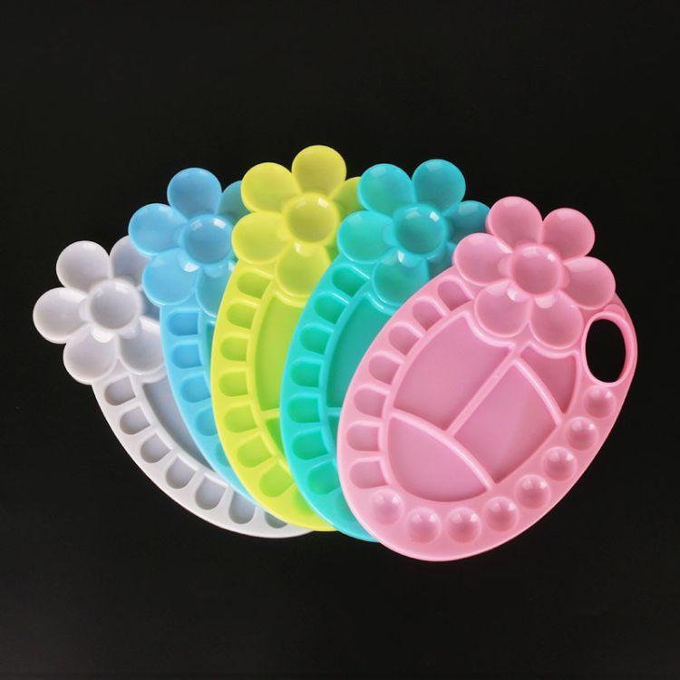 大号椭圆形花朵调色盘梅花调色盘 水粉丙烯颜料盒加厚国画调色碟