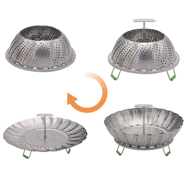 11寸不锈钢多功能折叠蒸笼伸缩蒸笼蒸屉蒸架伸缩折叠套装蒸菜工具