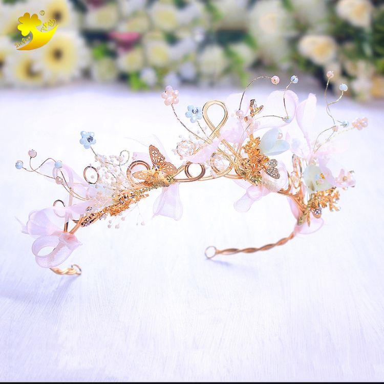 欧美时尚甜美皇冠发箍宴会出席节日庆典公主皇冠干花合金可爱发箍