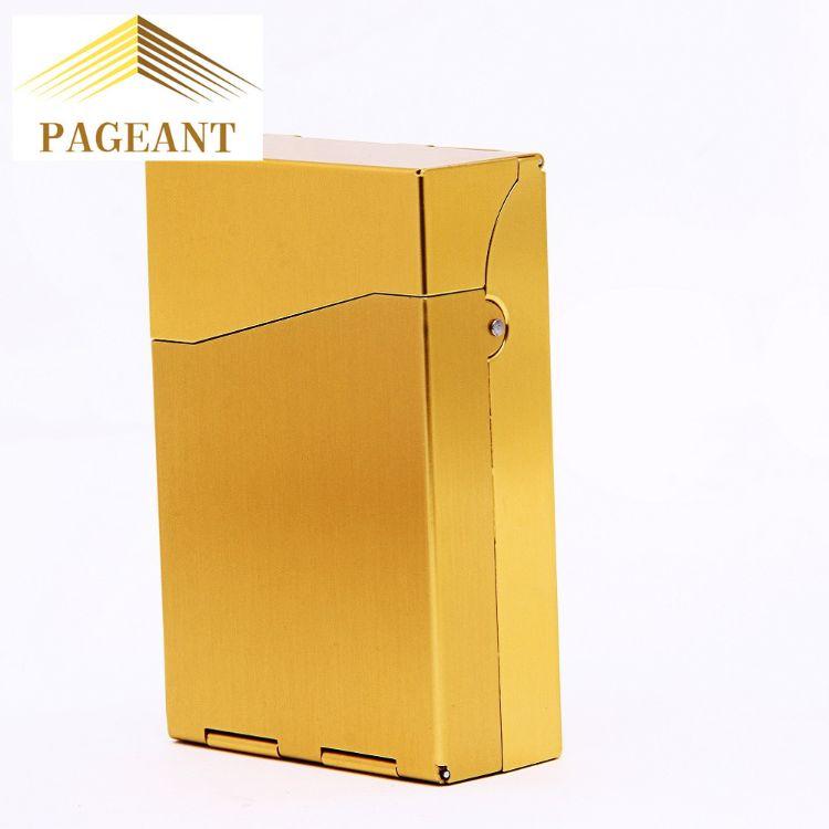 金属一键开关盖烟盒20支装超薄推拉自动弹盖金属烟盒铝合金