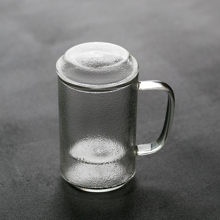 大容量锤纹耐热玻璃泡茶杯日式带盖把过滤花茶家用办公室喝水杯子