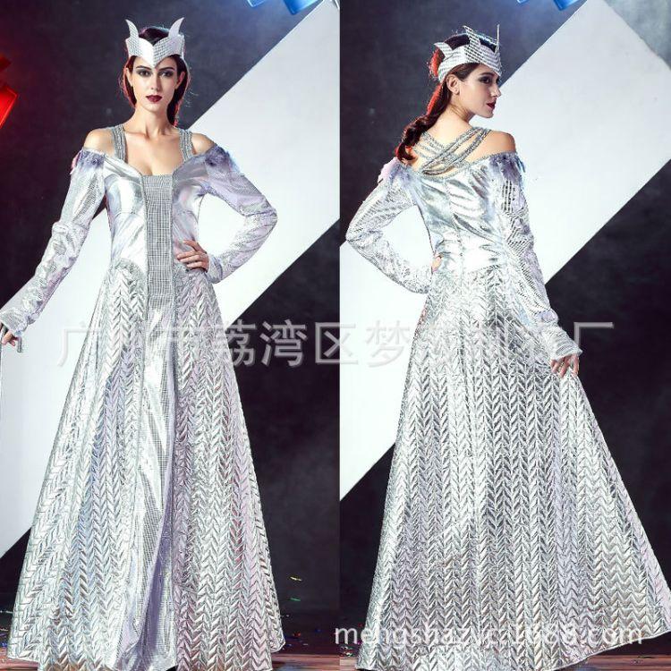 万圣节服装 成人女欧美电影冰雪女王cosplay皇后公主裙宫廷演出服