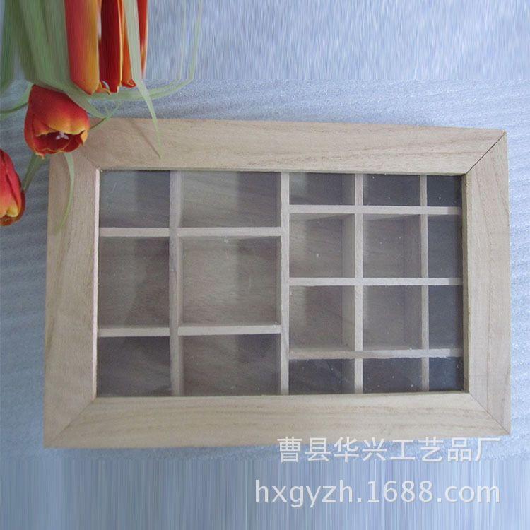 厂家直销透明盖茶叶木盒 分格收纳盒 永生花木盒定制