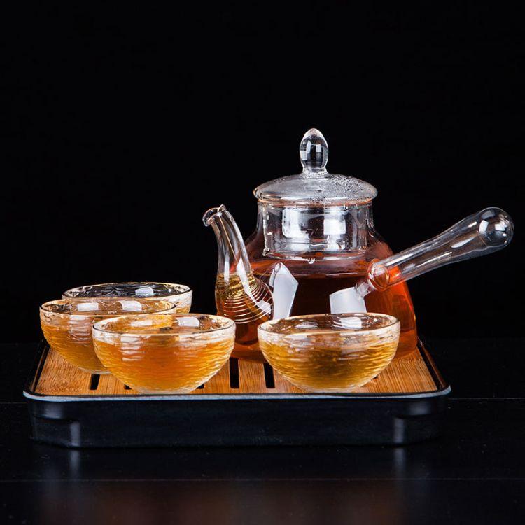 廠家定制批發耐熱玻璃茶具 一壺四杯帶茶盤 描金茶杯 六件套茶具套裝
