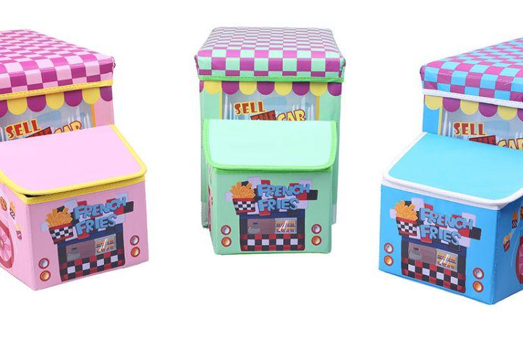 汽车造型收纳凳卡通儿童玩具储物凳可折叠收纳箱防水整理箱