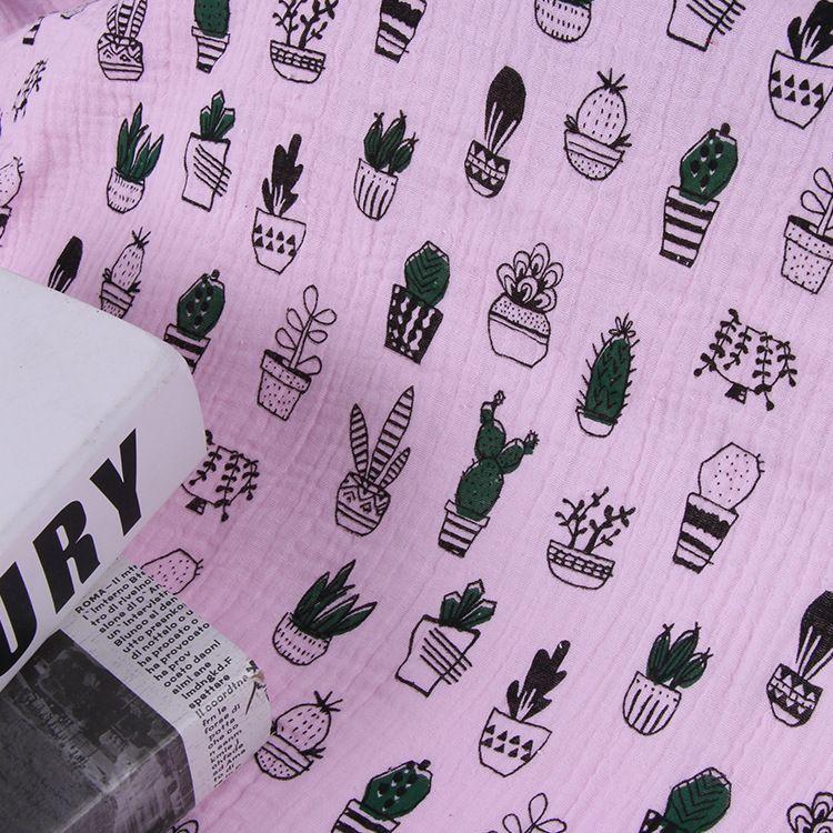 厂家直销纯棉双层纱布绉布料褶皱肌理棉绉布印花童装面料加工定制